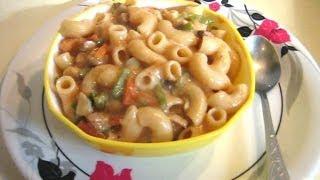 Mushroom Cheese Tomato Macaroni Pasta In White Sauce