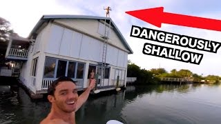 HUGE ROOF JUMP INTO SHALLOW WATER!!! *Dangerous*
