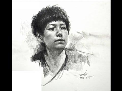 How to draw portrait tutorial by Zhu Kai Master Artist