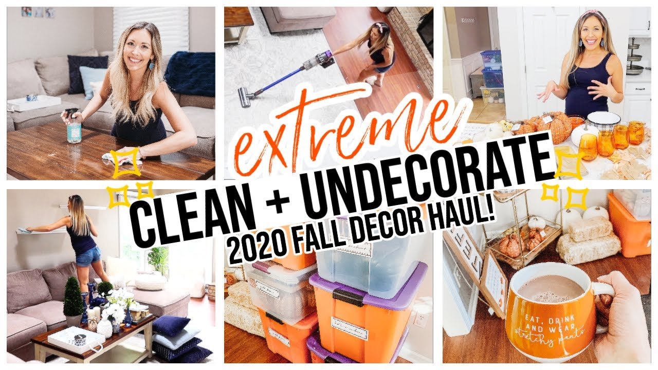 CLEAN AND UN DECORATE WITH ME! EXTREME CLEANING MOTIVATION! FALL DECOR 2020 HAUL  @Brianna K