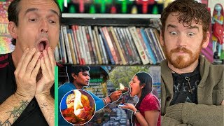 Exotic Indian Street Food Tour in Delhi India REACTION! Crazy FLAMING FIRE PAAN!