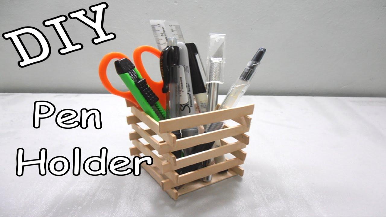 diy pen holder 4 popsicle stick youtube. Black Bedroom Furniture Sets. Home Design Ideas