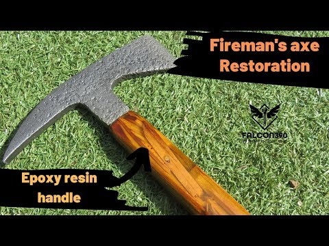 Axe restoration. Rusty fireman's axe. Epoxy resin handle.