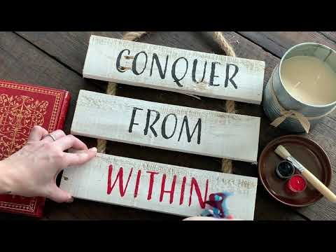 Conquer From Within - Motivational Rustic Whitewashed Reclaimed Wood DIY Craft Kit - Office & Home