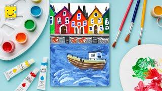 Как нарисовать МОРСКОЙ ПЕЙЗАЖ, море , домики, кораблик - урок рисования для детей