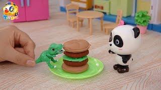妙妙的美味大漢堡!恐龍寶寶快快吃| 寶寶玩具 | 兒童玩具 | 玩具巴士