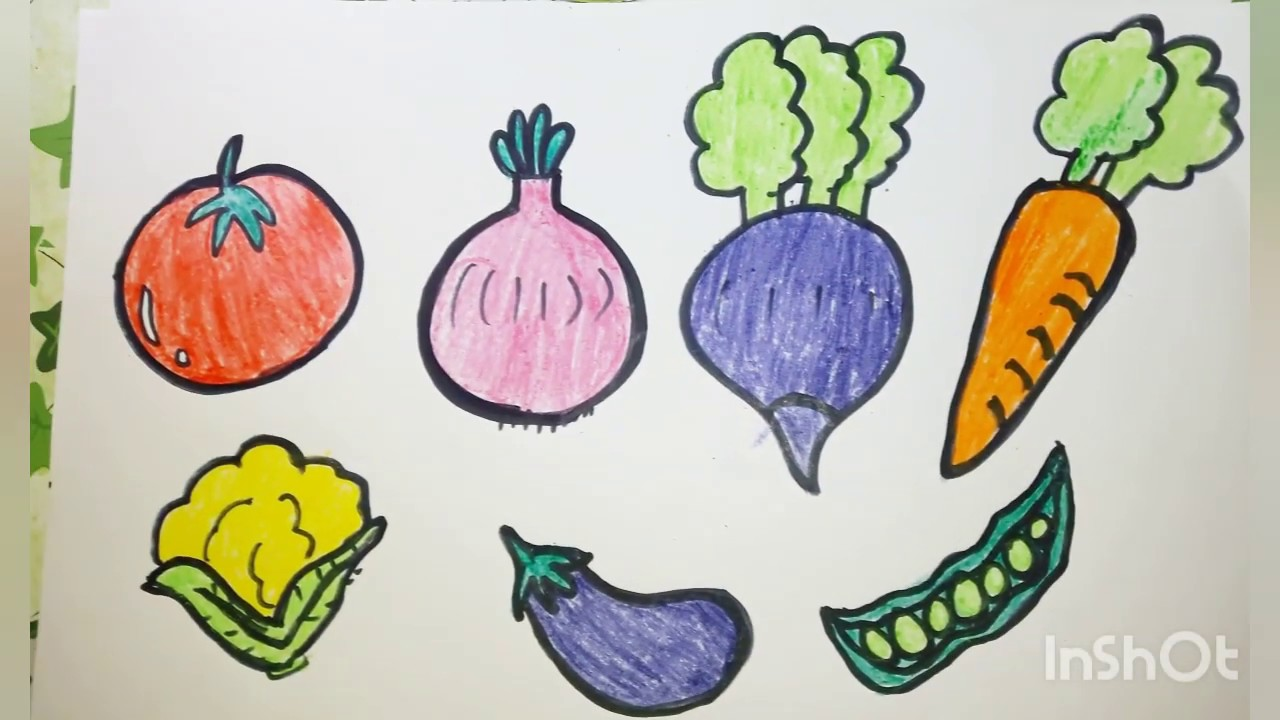 How To Draw Vegetables Easy Color Names For Toddlers Youtube