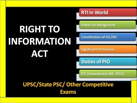 Right To Information Act 2005 | RTI | RTI Act 2005 | RTI Amendment Bill 2013 | UPSC | PCS | Polity |
