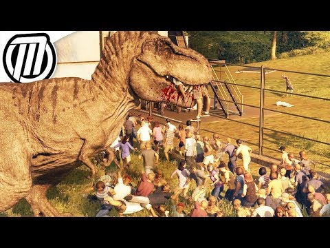 Jurassic World Evolution: T-REX Escape - Dino Rampage & Park Destruction