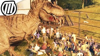 5 T-REX breakout of containment! Dino fights, feeding, park destruc...