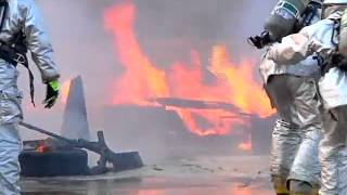 Fire Rescue - Thai and US Marines Rescue Aircraft From Fire During Exercise