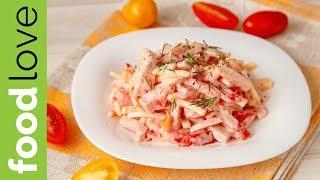 Очень простой и вкусный салат за 5 минут! Салат с ветчиной, сыром и помидорами| Салаты | FoodLove