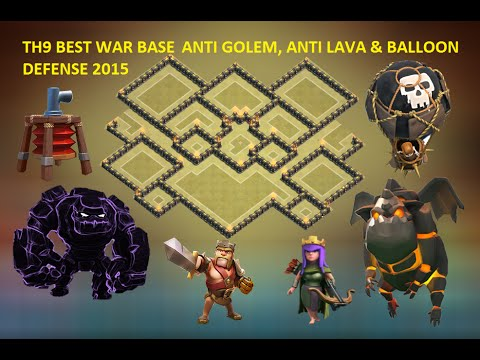 Clash of clans town hall 9 th9 war base with 2 air doovi