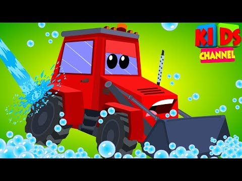 toy tractor in car wash song cartoon car video for baby by Kids Channel
