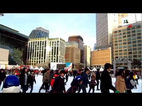 Enjoying the ice skating rink at Seoul Plaza in Seoul, South Korea