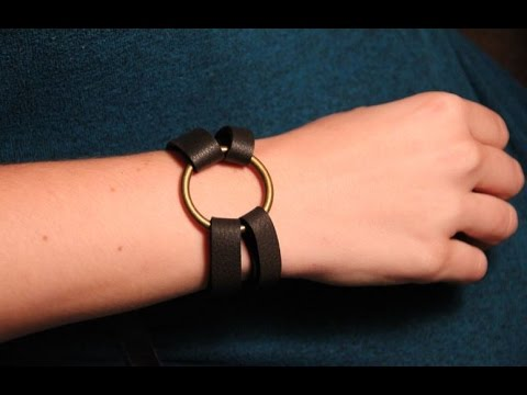 Leather Bracelet With Br Ring And Hitch Fastener Diy