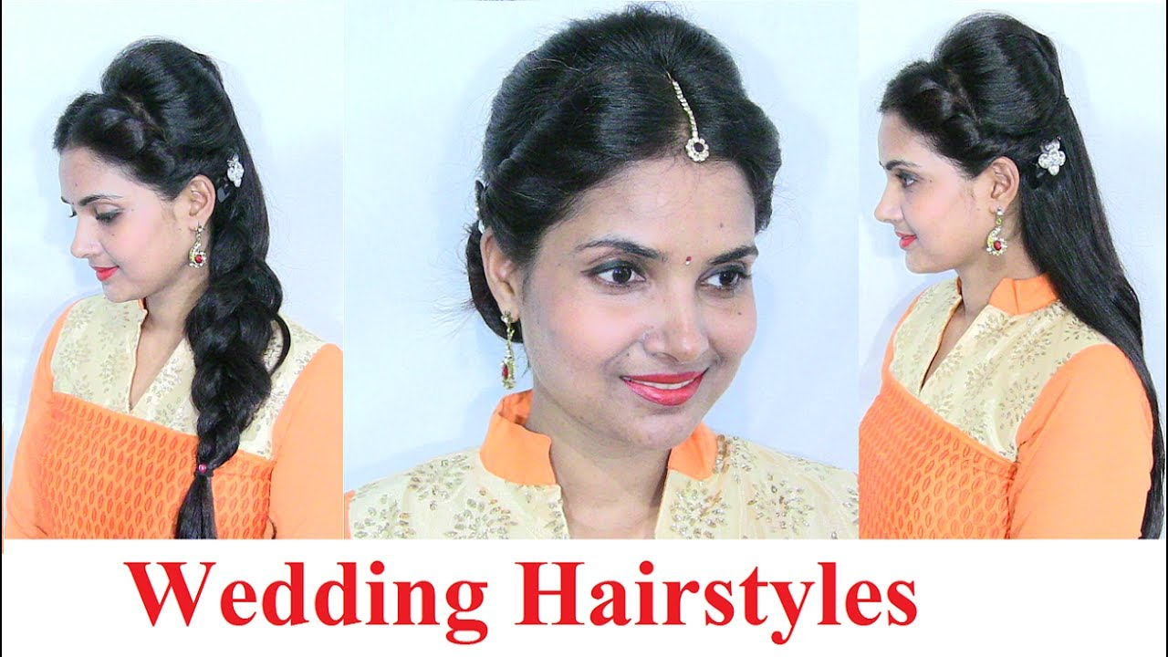 Indian Wedding Hairstyles For Medium To Long Hair Wedding Hair Style Video 2 Youtube