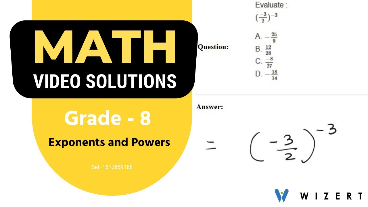 Grade 8 Maths Exponents and Powers worksheets - Set 1612859168 - YouTube [ 720 x 1280 Pixel ]