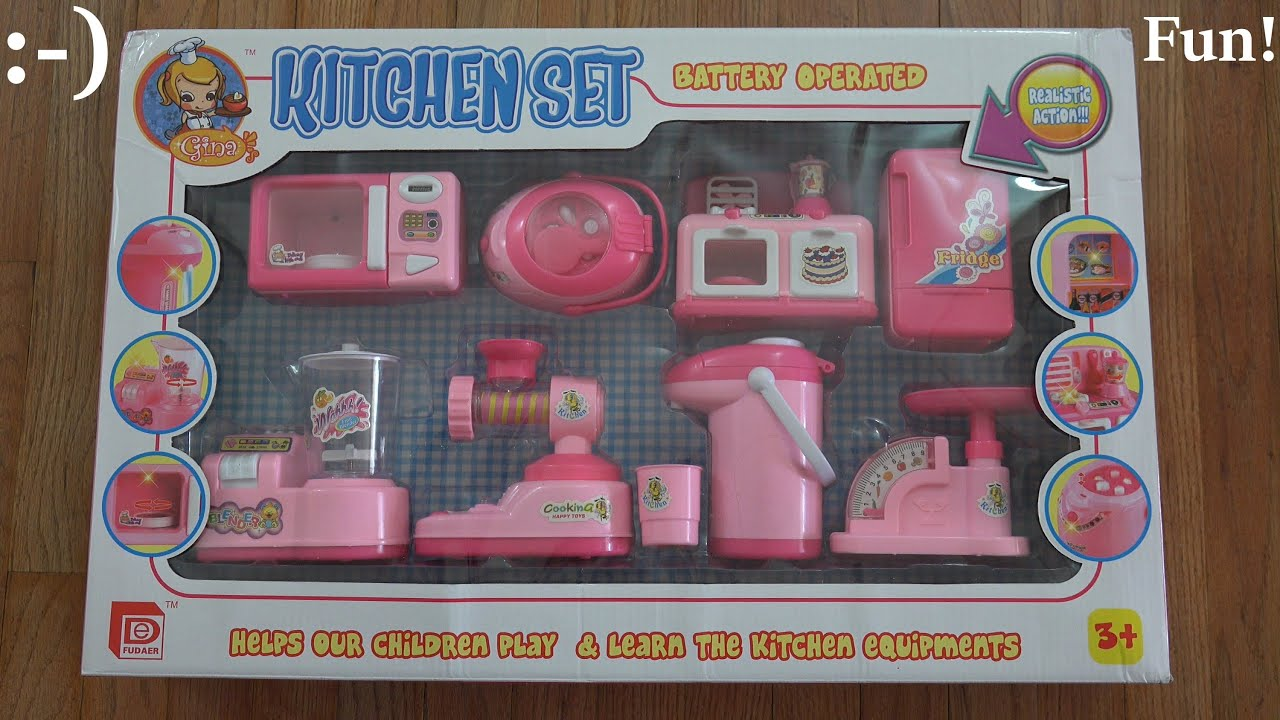 toys for little girls: gina's kitchen set unboxing & playtime 1 of
