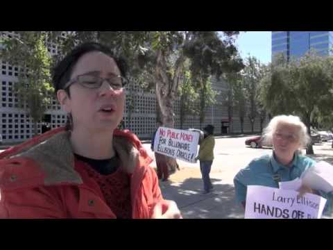 Oracle Billionaire Ellison Protested At World HQ-Stop Public Money To Billionaires For Charters
