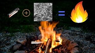 AA pil ve biraz folyo ile bir yangın başlatmak için nasıl