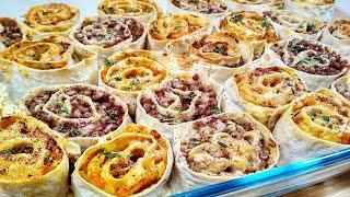 Закуска из Лаваша №1 - Розочки из Лаваша с капустой и с мясом в духовке.
