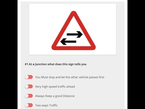 Theory Test in Dubai Driving Schools By RTA, Sample and Practice Questions