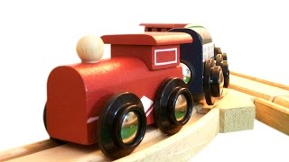 Playing with Toy Train Set - Melissa & Doug - Thomas & Brio Compatible Wooden Train