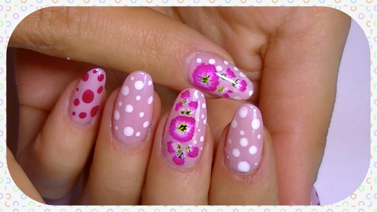 Delicate And Elegant Nail Art, Pretty Flower & Cute Polka Dots ...