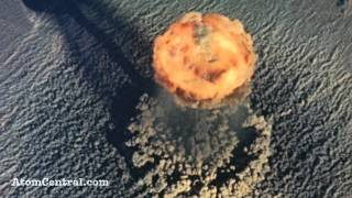 Aerial view of an atomic bomb explosion