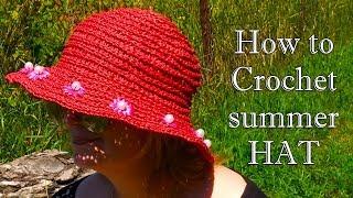 ШЛЯПА КРЮЧКОМ из рафии с цветами МК / How to crochet hat