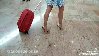 Teasing at the Airport in Strappy HighHeels
