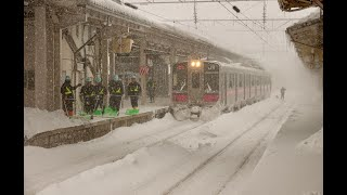 Trains in Aomori, The Most Snowy Area in the World ! 8m of snow !!!