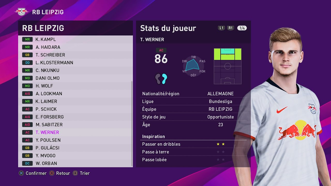 Pes 2020 Rb Leipzig Created Players Stats Youtube