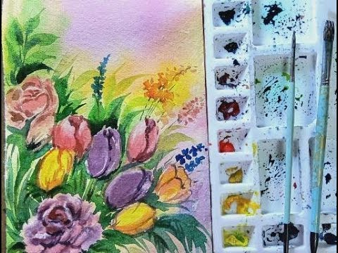 Watercolor flower painting/Easy flower painting ideas for beginners