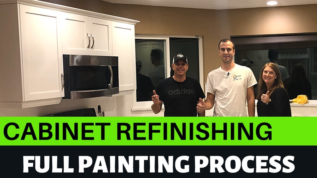 Cabinet refinishing | full painting process: dark maple to white