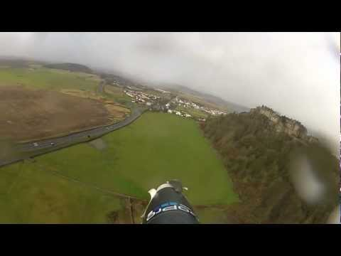 Flying around Stirling Castle and the King's Knot in the rain