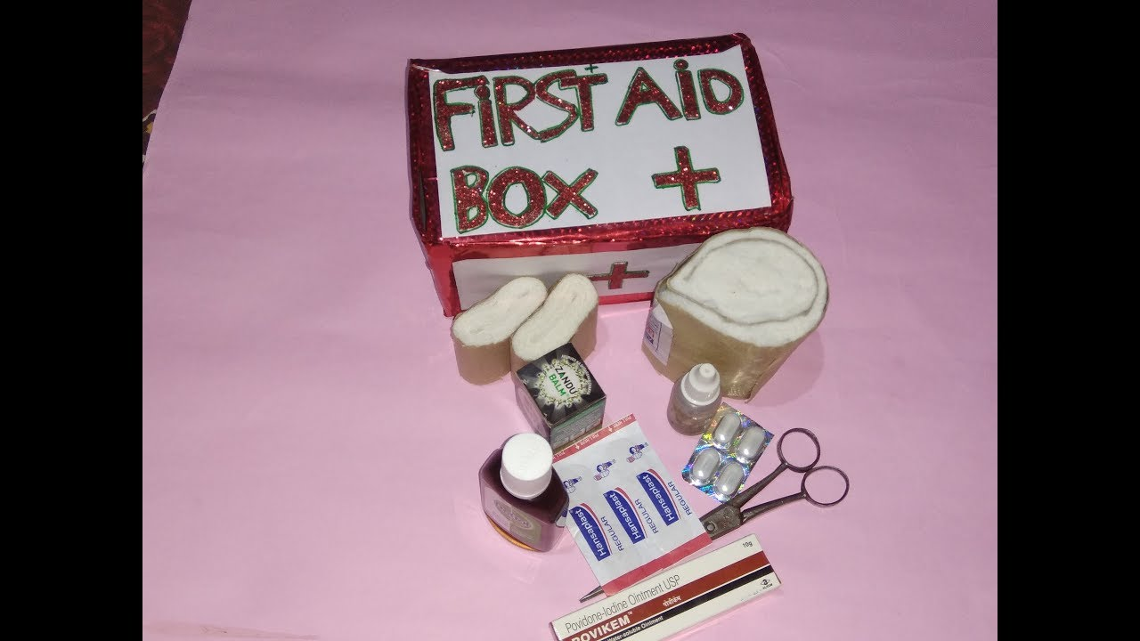DIY Miniature first aid kit for school project | first aid guide | making a  first aid kit