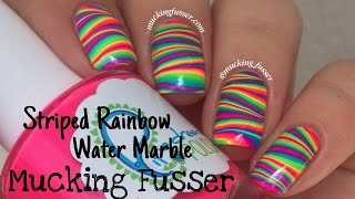Striped Rainbow Water Marble Nail Art Tutorial