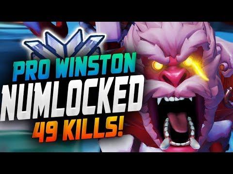 Numlocked Pro WInston! 49 Elims! [ OVERWATCH SEASON 15 TOP 500 ]