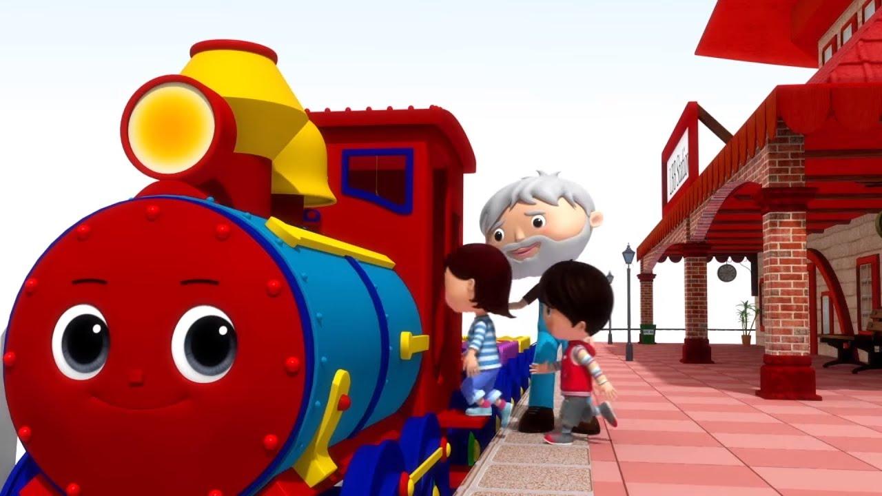 Музыкальные мультики - Учим фигуры и цвета с паровозиком - Песни для детей Литл Бэйби Бам