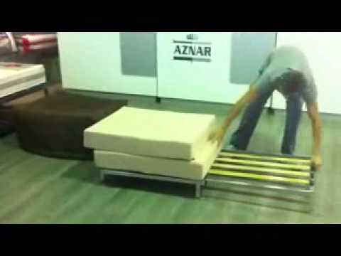 Pouff cama en colchones aznar youtube for Colchon sofa cama libro