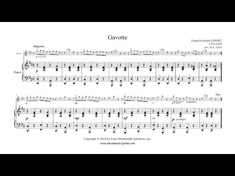 Gossec : Gavotte in D Major - Violin