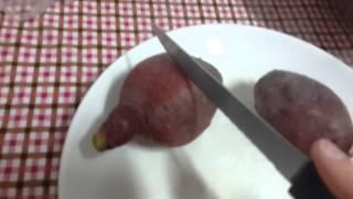 Как быстро приготовить сладкий картофель в микроволновке.