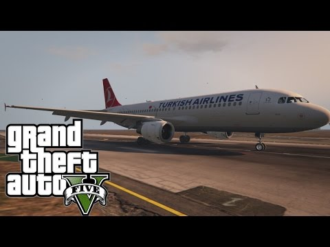 GTA V - Turkish Airlines A320-200 Late touchdown - LSIA to Sandy Shores