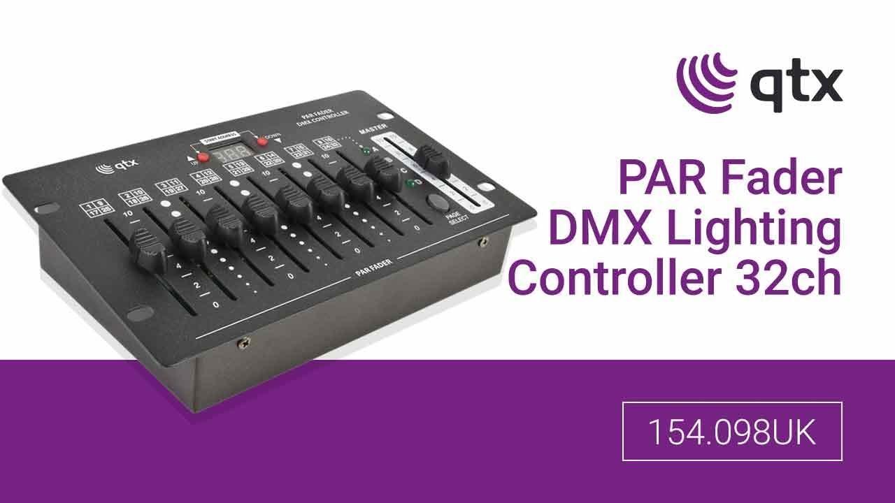 qtx par fader dmx lighting controller 32ch 154 098uk