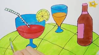 How to draw a cup - draw a bottle - children video - learn to paint - Star child color