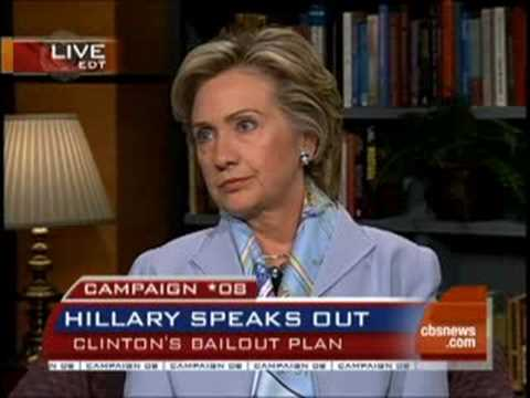 Hillary Uneasy Over Bank Bailout