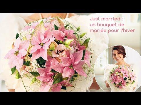 Idée déco pour les fleuristes : un bouquet de mariée à base de poinsettias