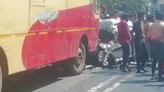 There was a big accident car and ksrtc bus ayoor there are five people died 12:1:2019 afternoon.